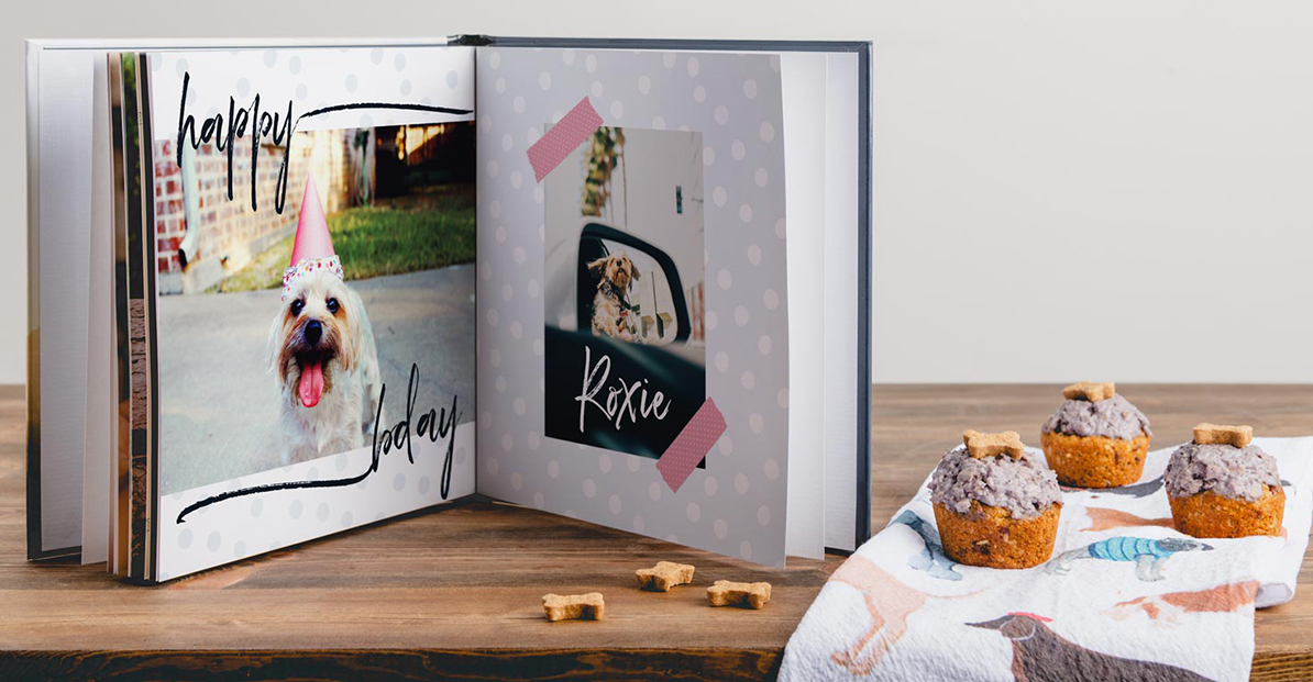 Shutterfly Custom Photo Dog Book pages showing a dog's birthday party