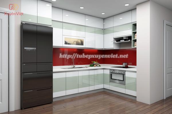 Mẫu tủ bếp đẹp chữ L cao sát trần cho nhà chung cư