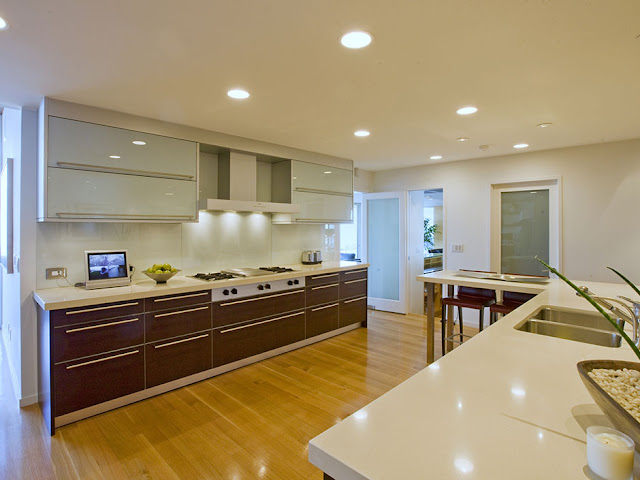 Picture of modern brown and white kitchen furniture in modern mansion