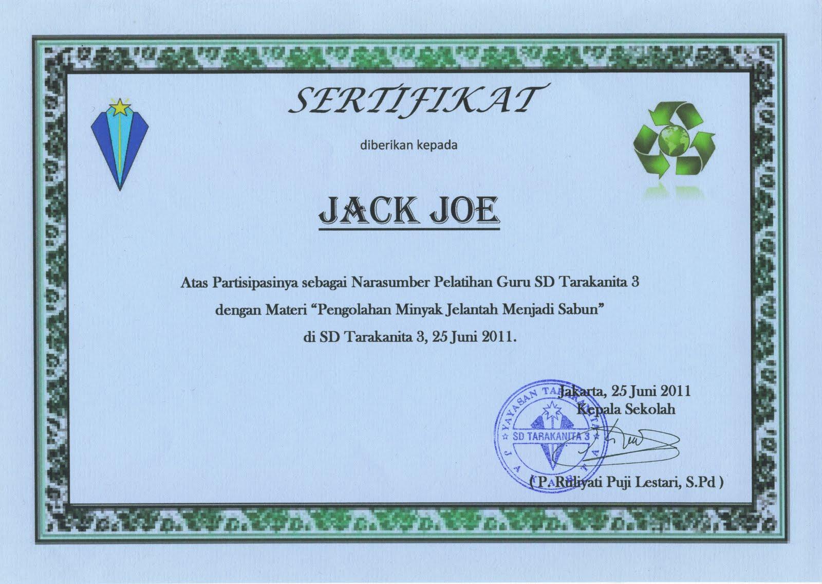Welcome to Joe's Blog: Sertifikat Kegiatan Pelatihan Guru ...