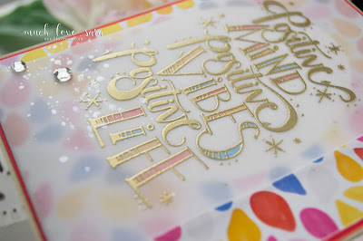 This bright and colorful card features Fun Stampers Journey's new Positive Life ATS.  Gold heat embossing, and lots of sparkle make this uplifting card shine.   #fsjallday