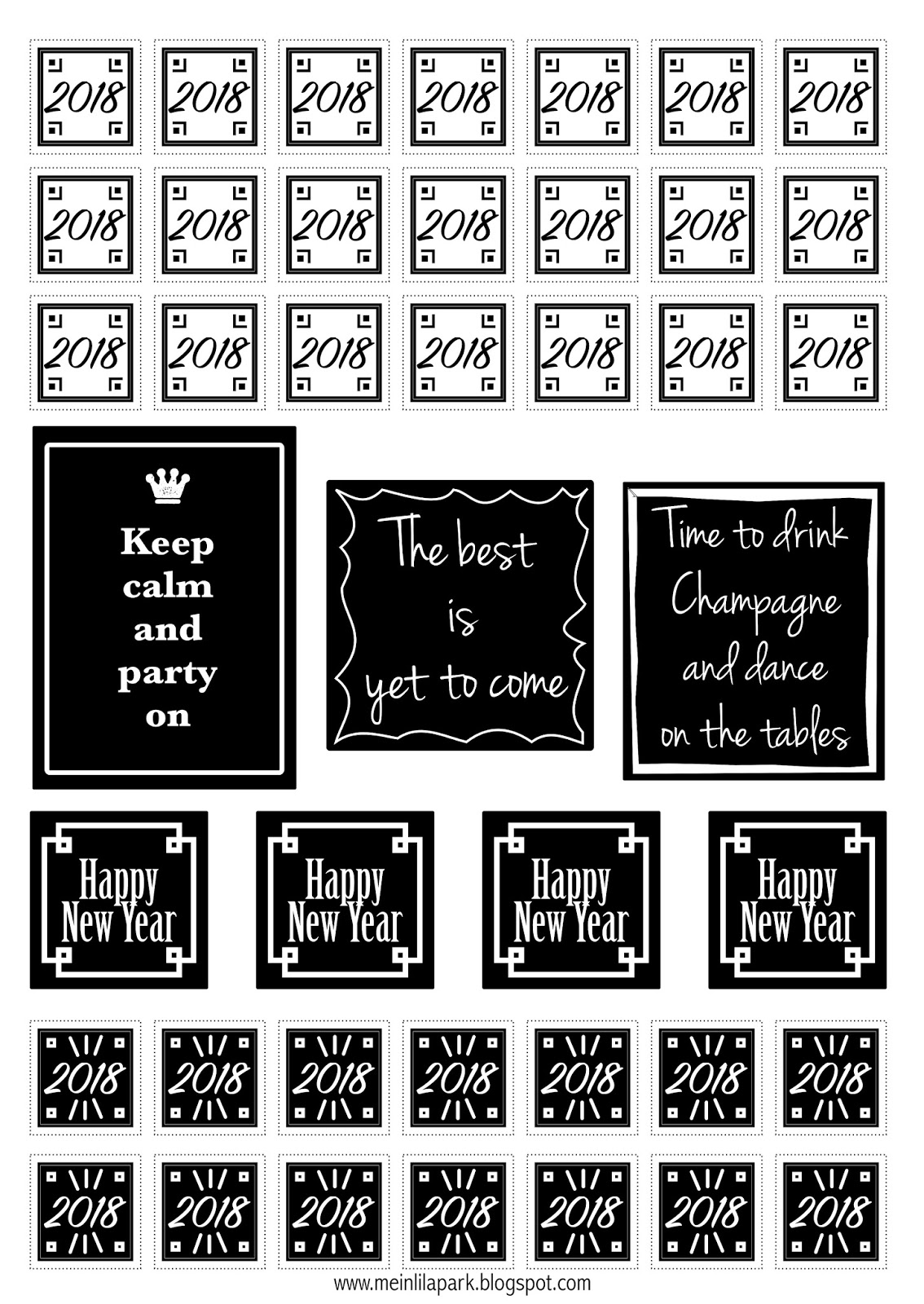 Free Printable Happy New Year Planner Stickers