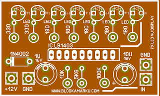 PCB Layout  7x LED VU DISPLAY SIMPLE