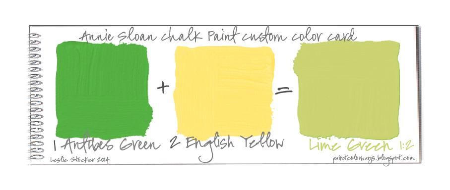 These Color Cards Show The Results Of Mixing Annie Sloan Chalk Paint Antibes Green And English