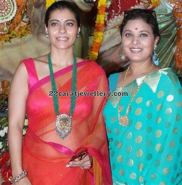 Kajol in Emerald Beads Long Set