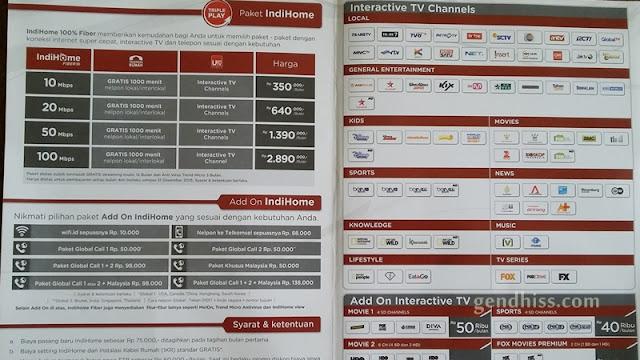 Paket dan harga indihome untuk wilayah Sampit