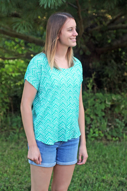 Lou Box Top from Indiesew in a green rayon challis from Imagine Gnats