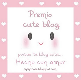 Premio Cute Blog compartido por Nieves de Igloo Cooking