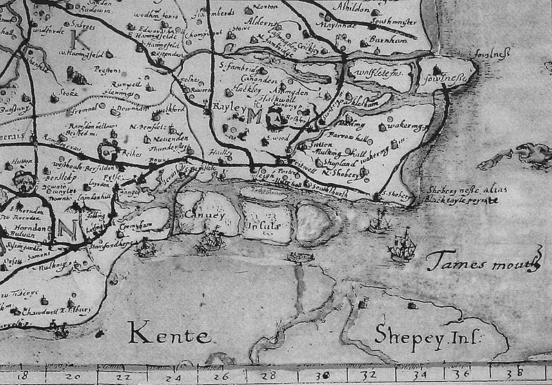 16th Century Norden map Canvey Island