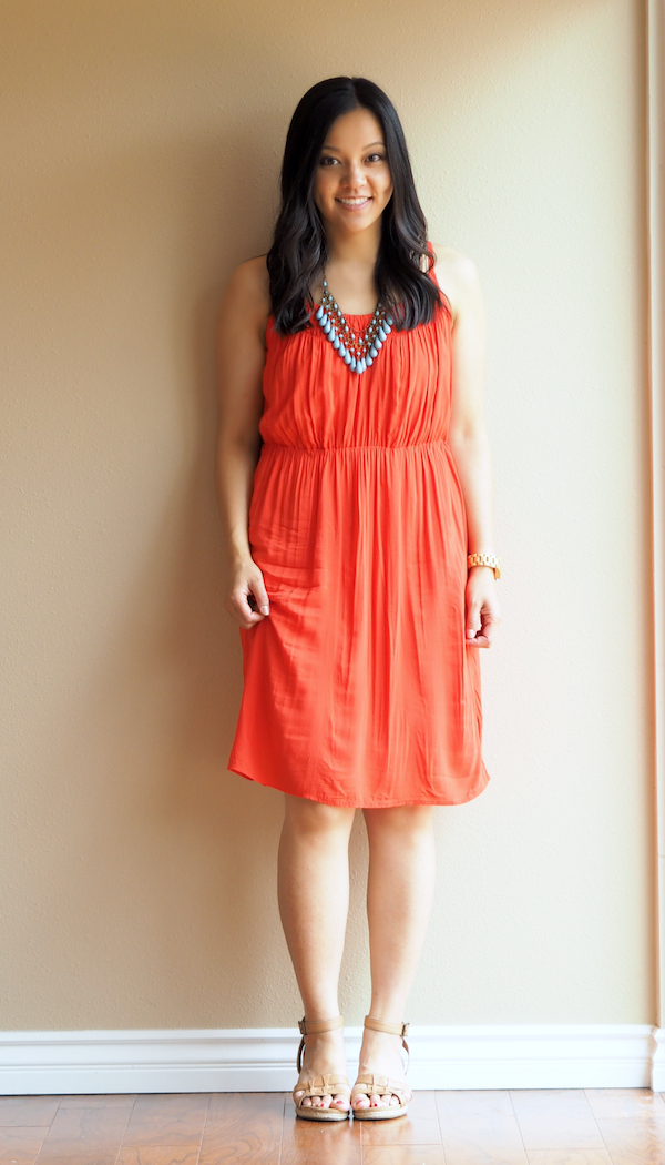 Red orange dress what color shoes