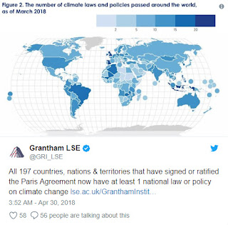 The number of climate laws and policies passed around the world as of March 2018 (Credit: Grantham LSE) Click to Enlarge.
