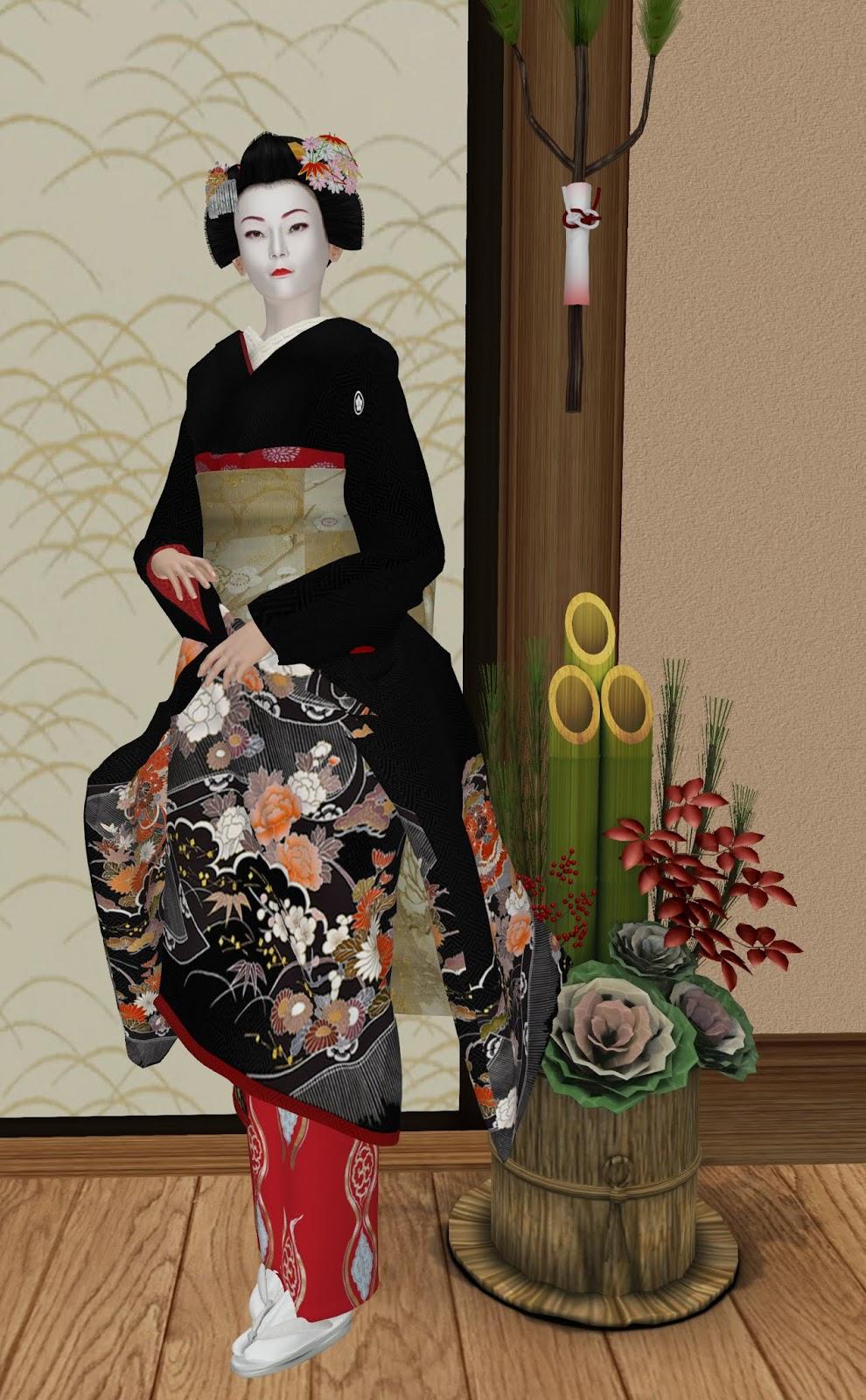 Maiko style customizable red juban under kimono