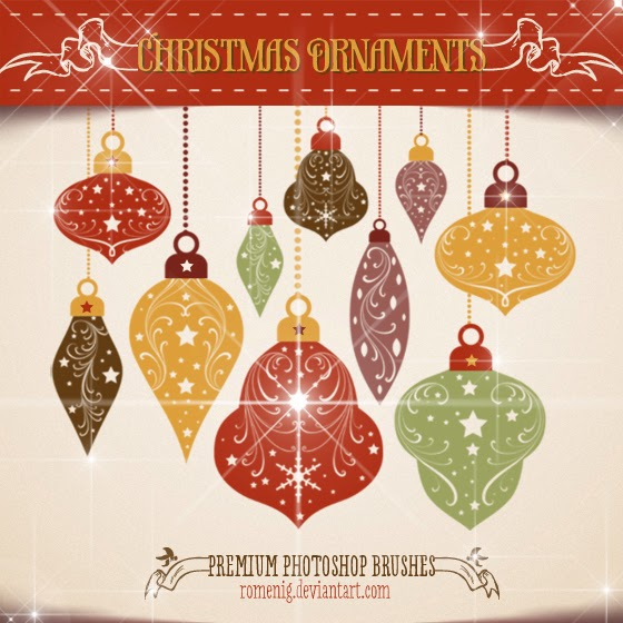 Efeito Photoshop: Chritsmas Ornaments Premium Brushes