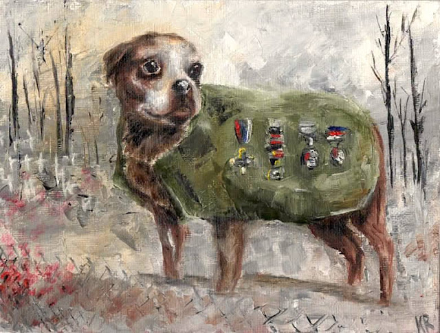 oil painting of dog who served in world war 1