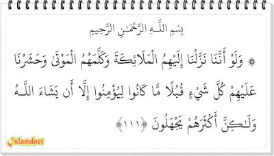 tulisan Arab dan terjemahannya dalam bahasa Indonesia lengkap dari ayat  Surah Al-An'am Juz 8 Ayat 111-165 dan Artinya