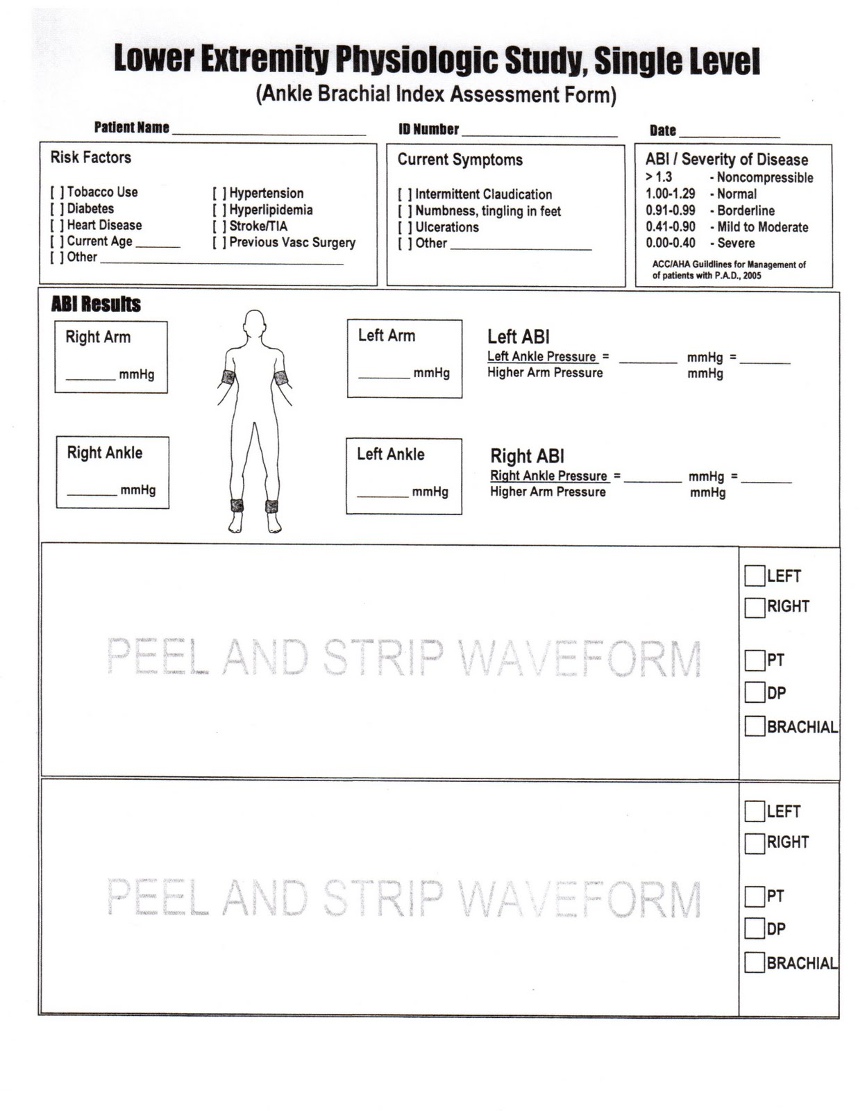 Ankle Brachial Index Worksheet