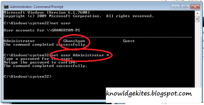 Know admin password in windows 7 and vista from Guest User Step 3
