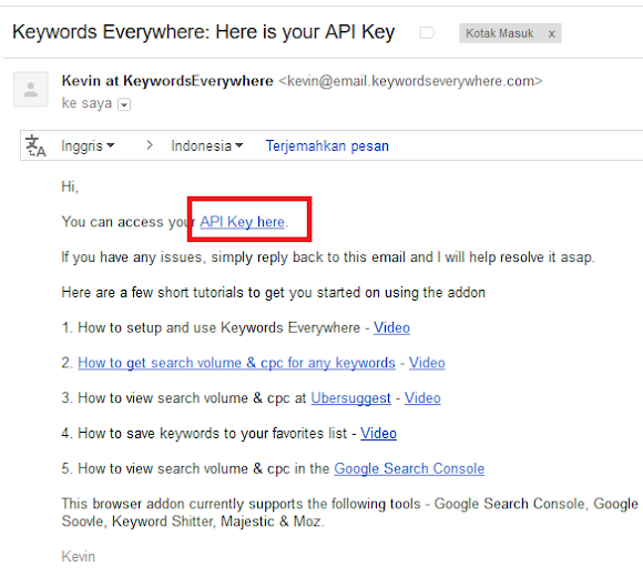 tampilan email dari keywords everywhere