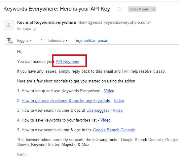 tampilan email dari keywords everywhere