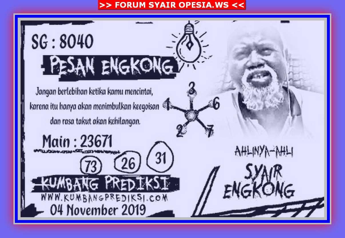 Kode syair Singapore Senin 4 November 2019 148