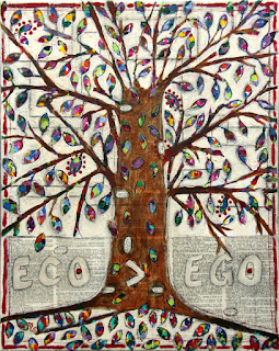 Eco is Greater Than Ego original mixed media collage tree painting by artist Merrill Weber