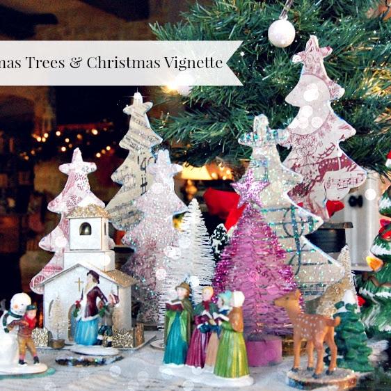 DIY Scrapbook Paper Christmas Trees & Vignette