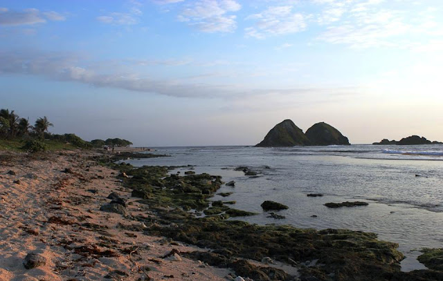 Rocky shoreline and a distant view of islets and a green rocks