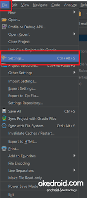 File > Settings Android Studio