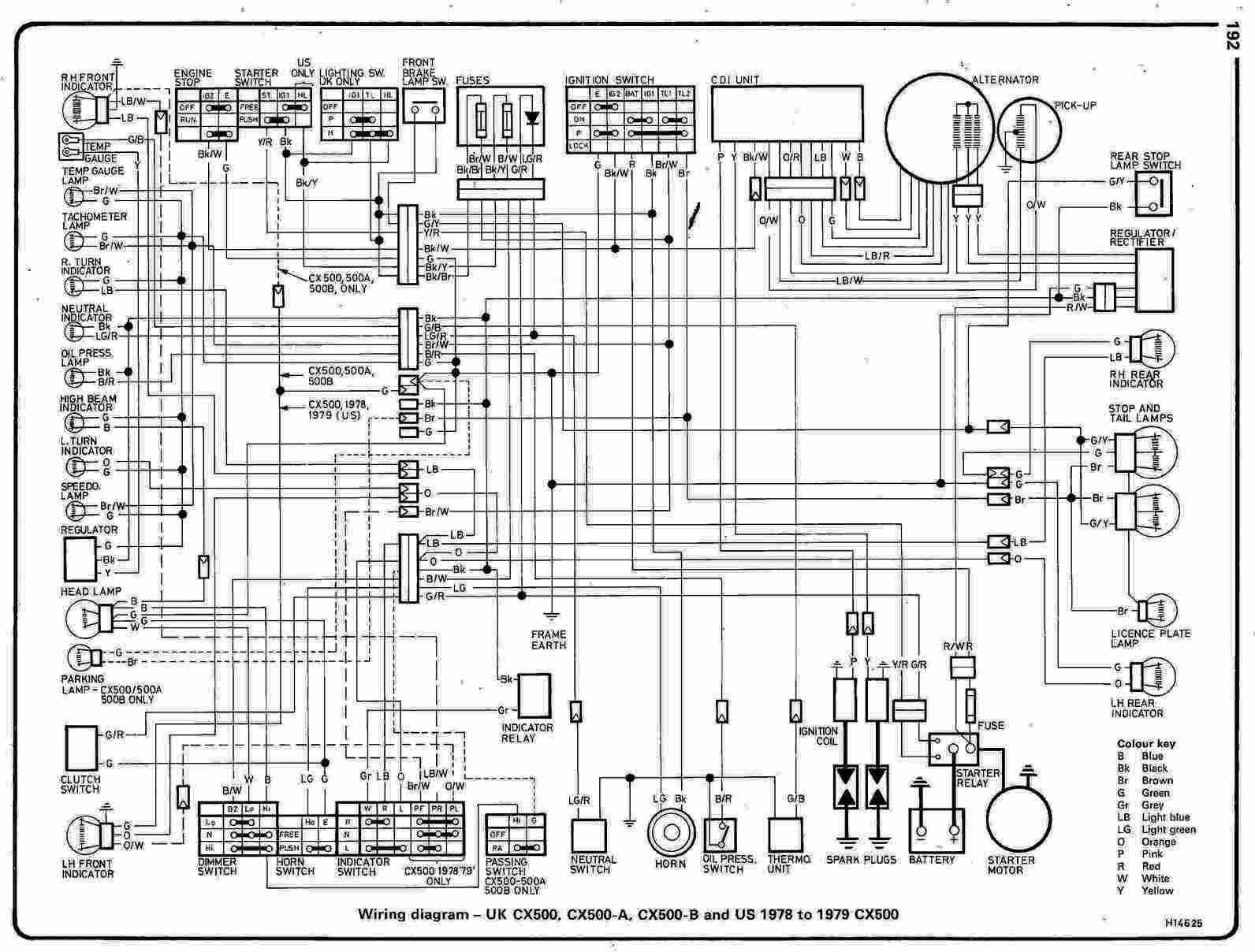 Honda CX500 Motorcycle 1978 1979 Complete Wiring Diagram