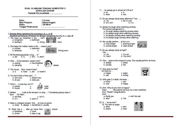 Soal PTS atau UTS Bahasa Inggris Kelas 5 SD MI Semester 2