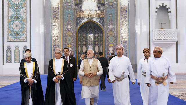 Prime Minister Narendra Modi visits the Sultan Qaboos Grand Mosque in Muscat, Oman on Monday  , PTI