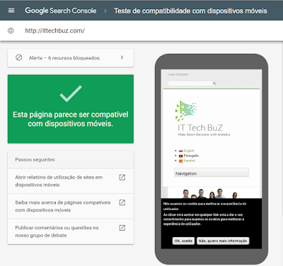 Resultados para smartphones do website da IT Tech BuZ