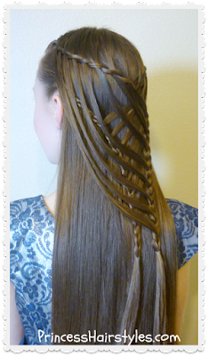 Pretty mermaid hairstyle. Criss cross waterfall twist braid.
