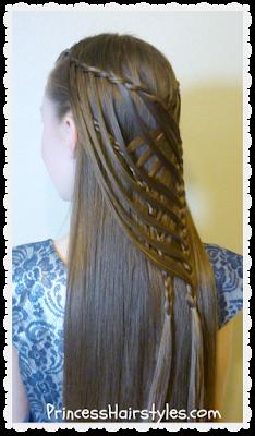 Pretty mermaid hairstyle. Criss cross waterfall twist braid.