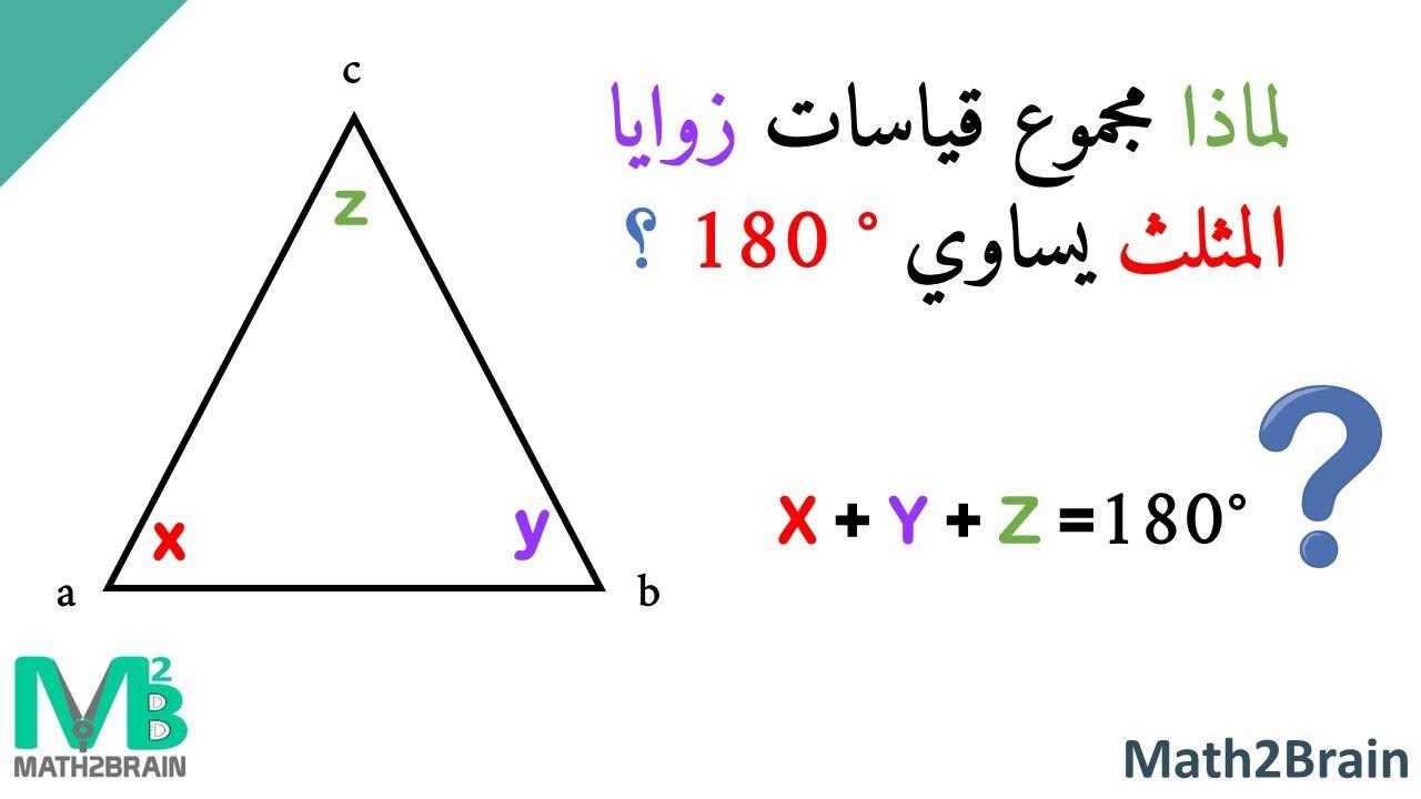 برهان مجموع زوايا المثلث 180°