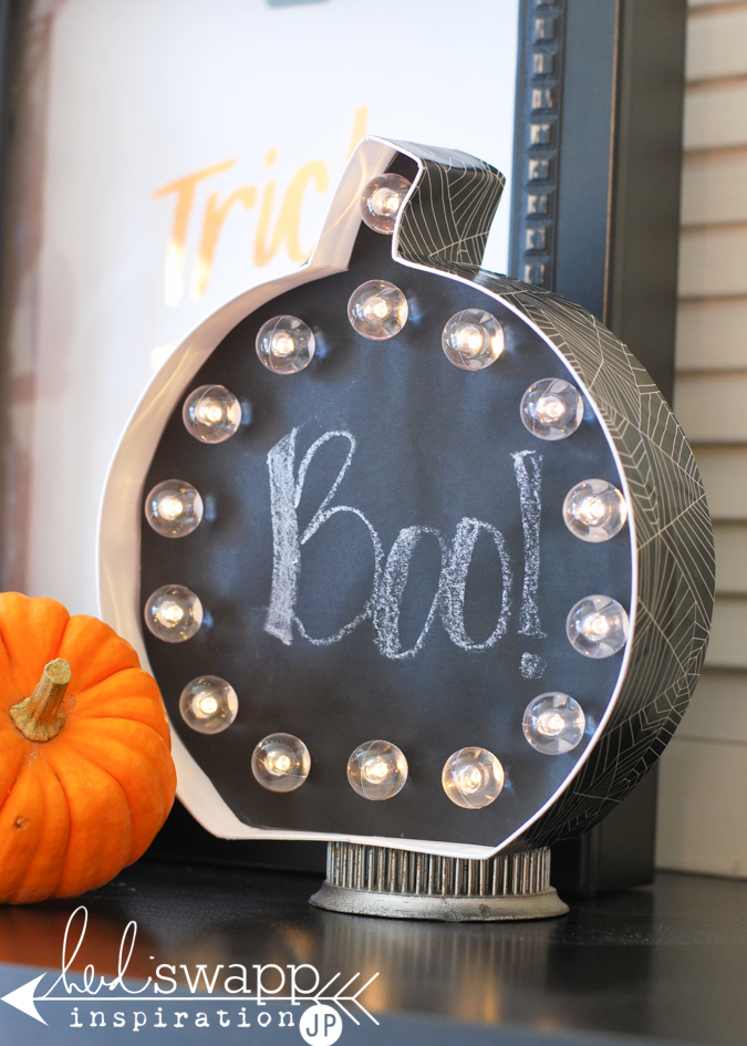 Say Boo Halloween Marquee  |  Best way to say boo! this Halloween…insert chalk paper from @michaelsstores into Heidi Swapp Marquee Love Pumpkin and light the celebration. @jamiepate for @heidiswapp