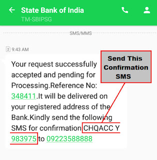 how to order cheque book in sbi through sms