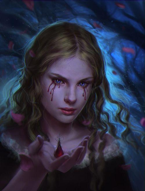 Laura Sava anotherwanderer deviantart ilustrações fantasia belas mulheres Lágrima de sangue