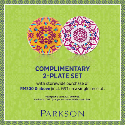 Complimentary 2-Plate Set with storewide purchase of RM300 & above at Parkson