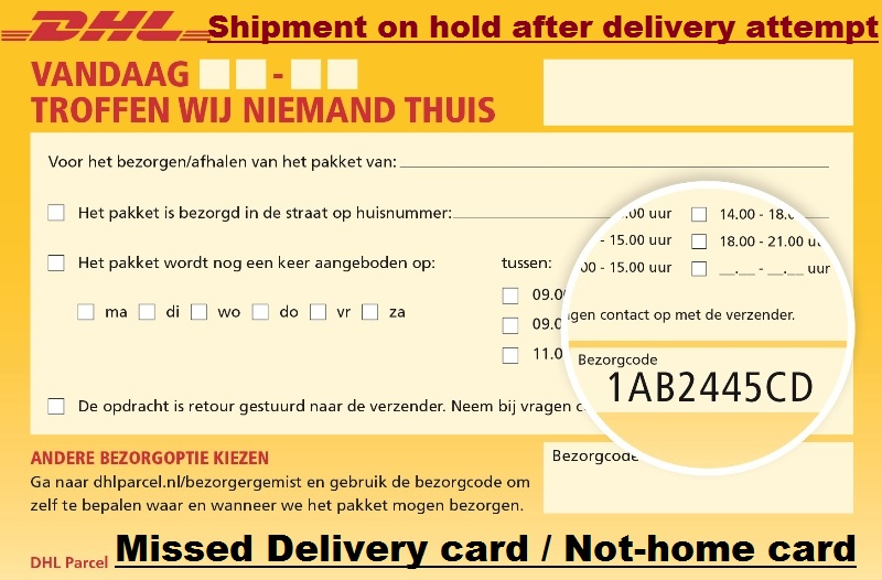 DHL Shipment on hold after delivery attempt - Reason  Solution