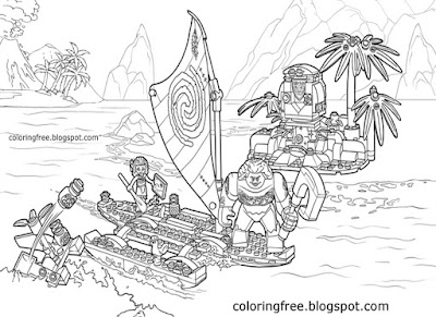 Tropical Island seas brave teenager boat voyage Disney Moana ocean adventure lego coloring for girls