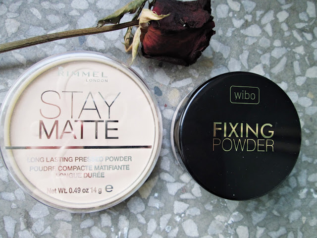 rimmel stay matte transparent, wibo fixing powder