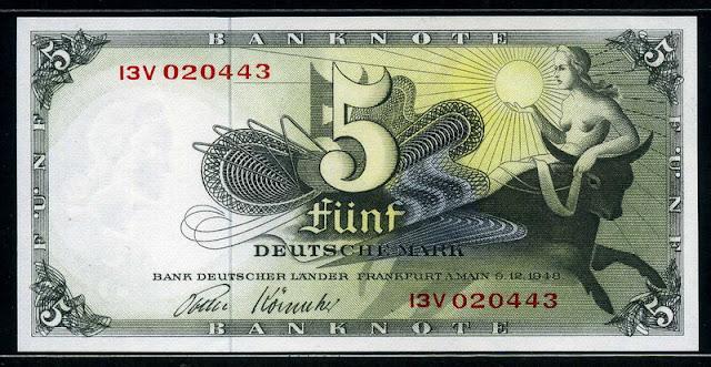 German bank notes 5 DM Deutsche Mark banknote bill