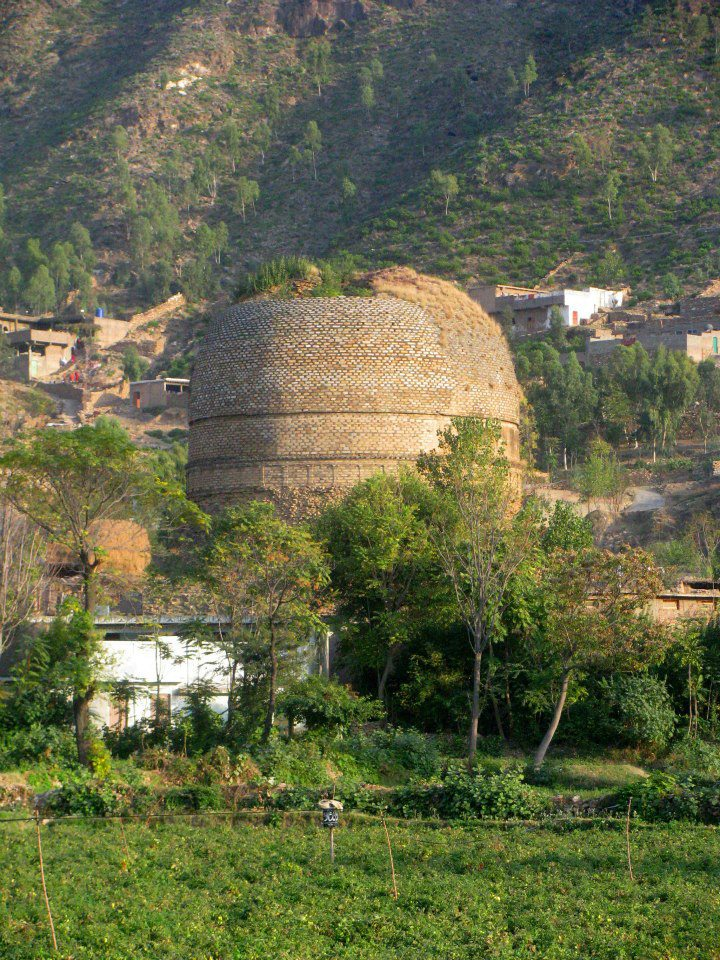 Shingardar (ancient Buddhist) Stupa as seen from Swat Road.Swat Pakistan