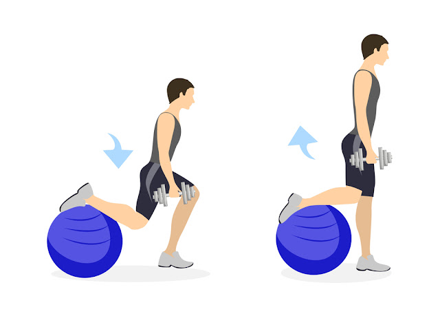 Legs exercise for men.Healthy lifestyle. Crossfit and fitness. Lunges with fitball.