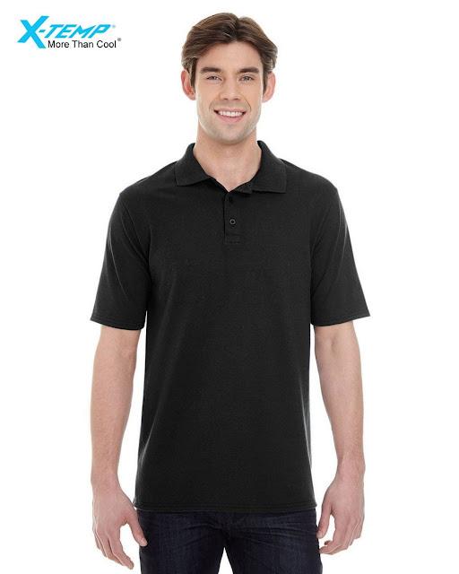 Hanes 055P Mens X-Temp Pique Short-Sleeve Polo- Black – L