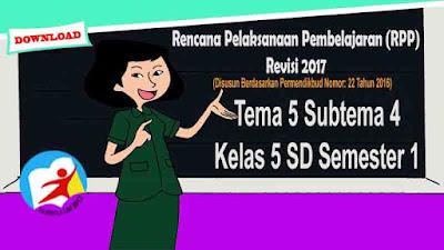 RPP Tematik Kelas 5 SD Tema 5 Subtema 4 Kurikulum 2013 Revisi 2017