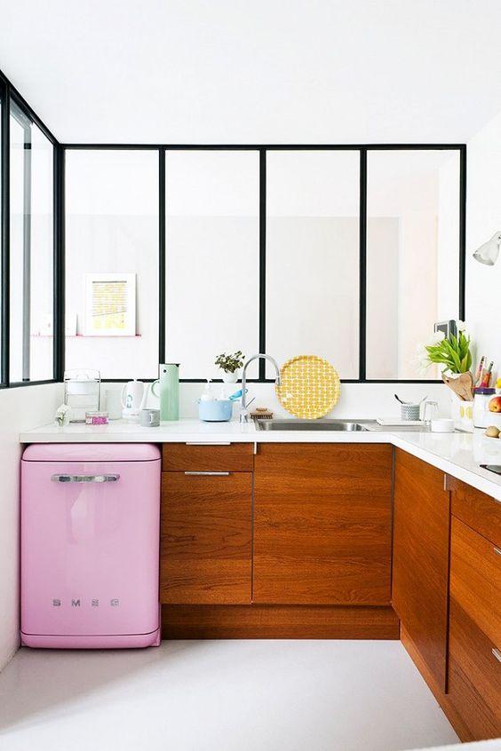 pink smeg in kitchen