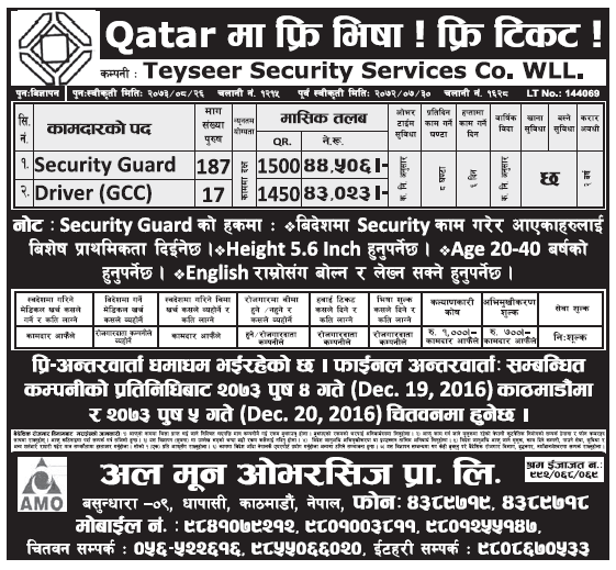Free Visa Free Ticket Jobs In Qatar for Nepali, Salary Rs 44,506