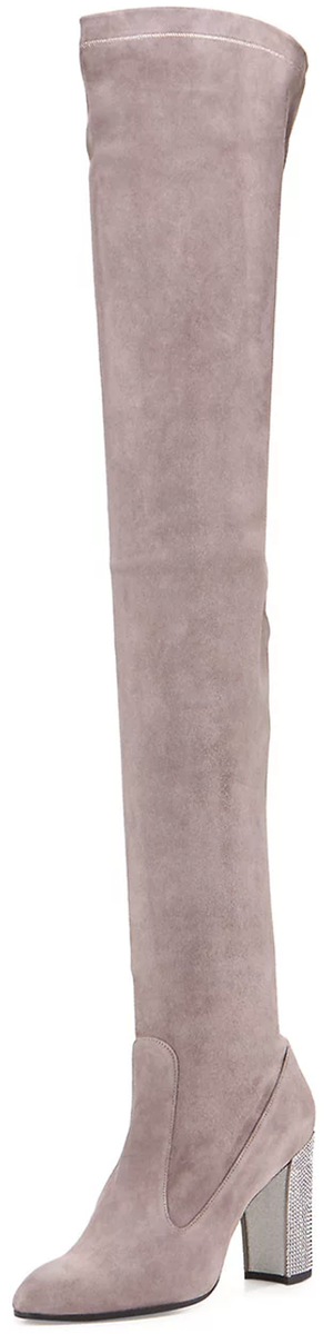 Rene Caovilla Suede 90mm Over-the-Knee Boot, Gray